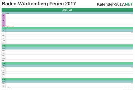 Vorschau EXCEL-Monatskalender 2017 mit den Ferien Baden-Württemberg