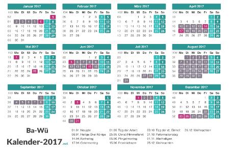 Kalender mit Ferien Baden-Württemberg 2017 Vorschau