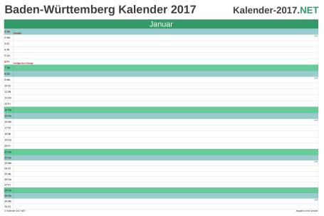 Vorschau Monatskalender 2017 für EXCEL Baden-Württemberg