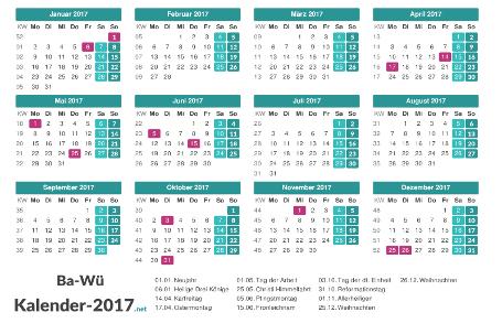 Feiertage Baden-Württemberg 2017 zum Ausdrucken Vorschau