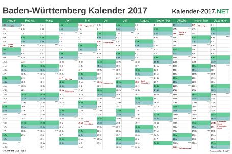 Vorschau Kalender 2017 für EXCEL mit Feiertagen Baden-Württemberg