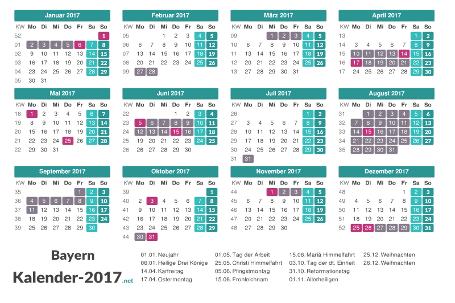 Ferien 2017 + Feiertage zum Ausdrucken - Bayern Vorschau
