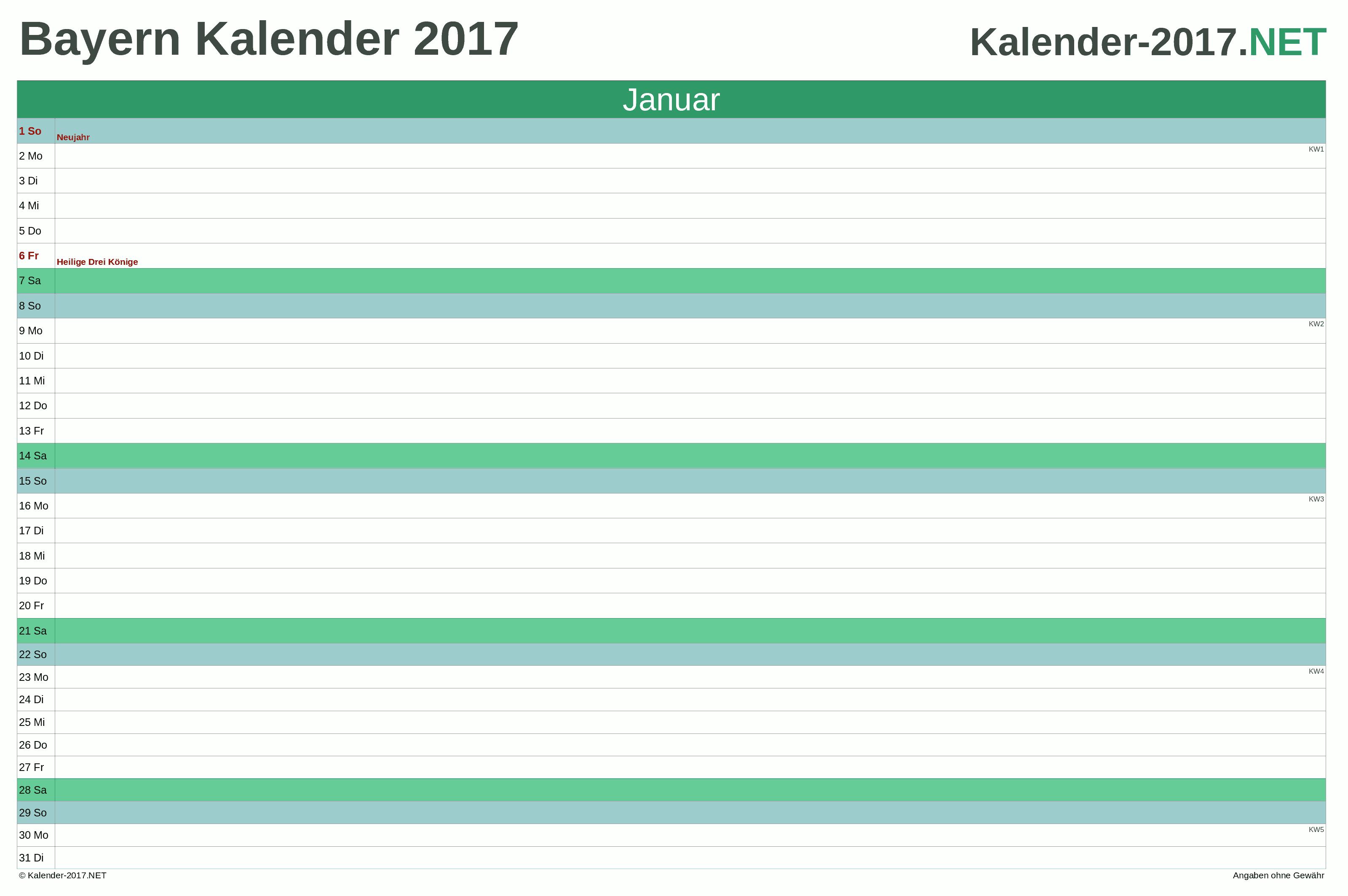 Bayern Monatskalender 2017