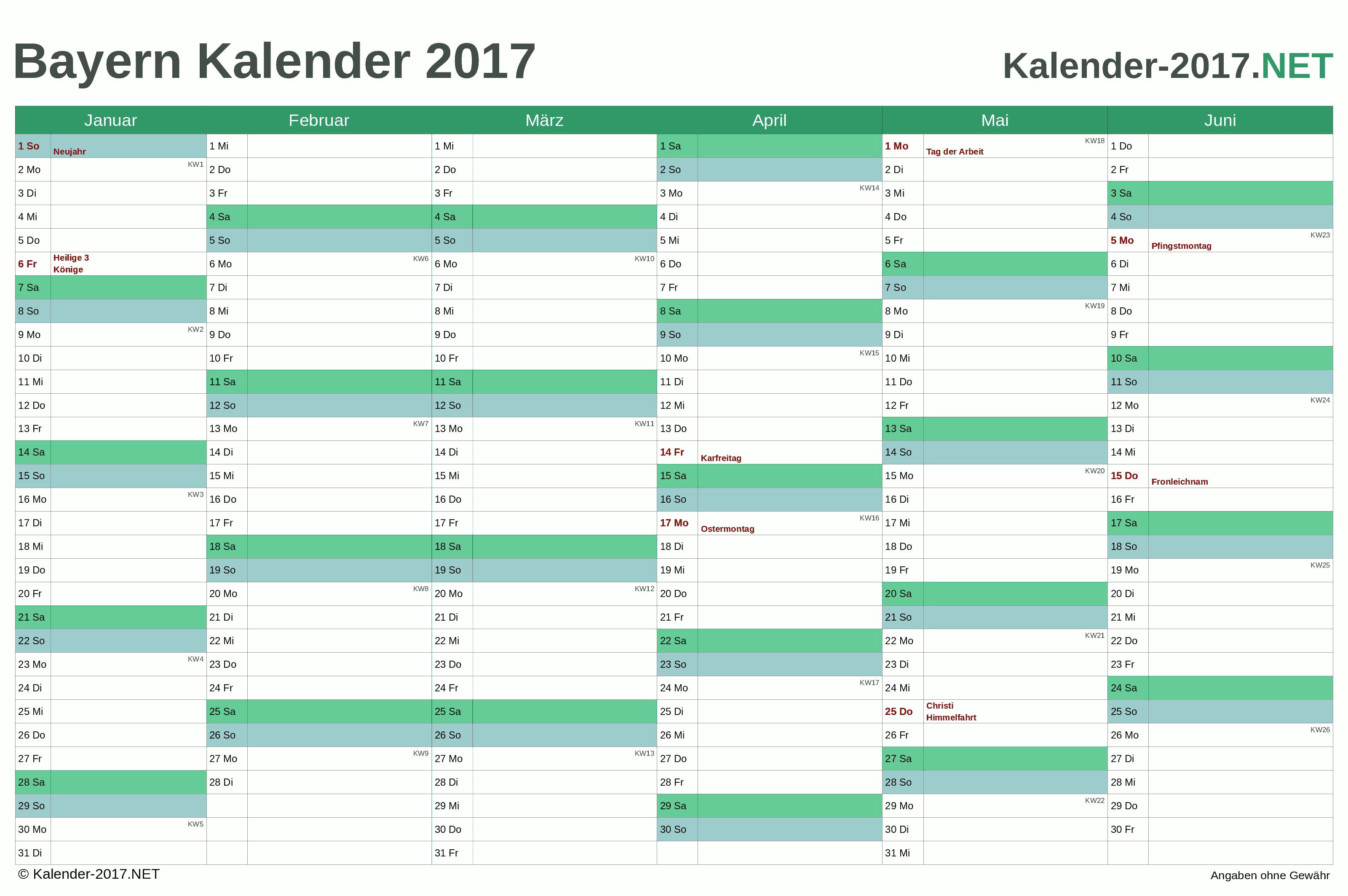 Bayern Halbjahreskalender 2017