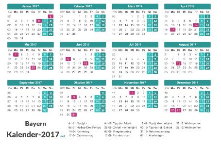 Bayern Kalender 2017 + Feiertage Vorschau