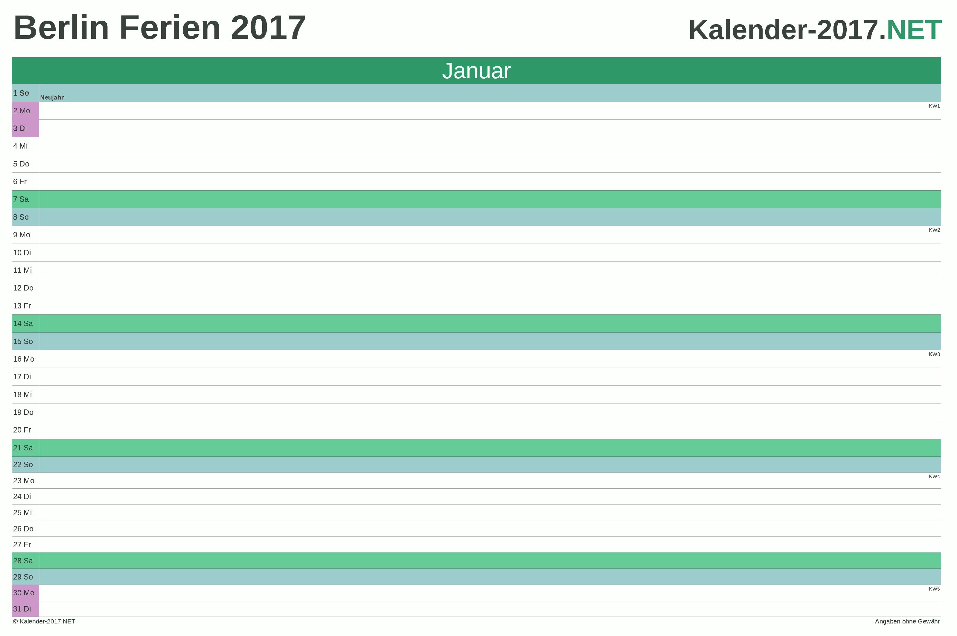 Ferien Berlin 2017 Ferienkalender übersicht