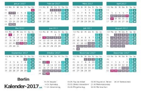 Kalender mit Ferien Berlin 2017 Vorschau
