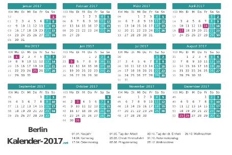 Berlin Kalender 2017 + Feiertage Vorschau