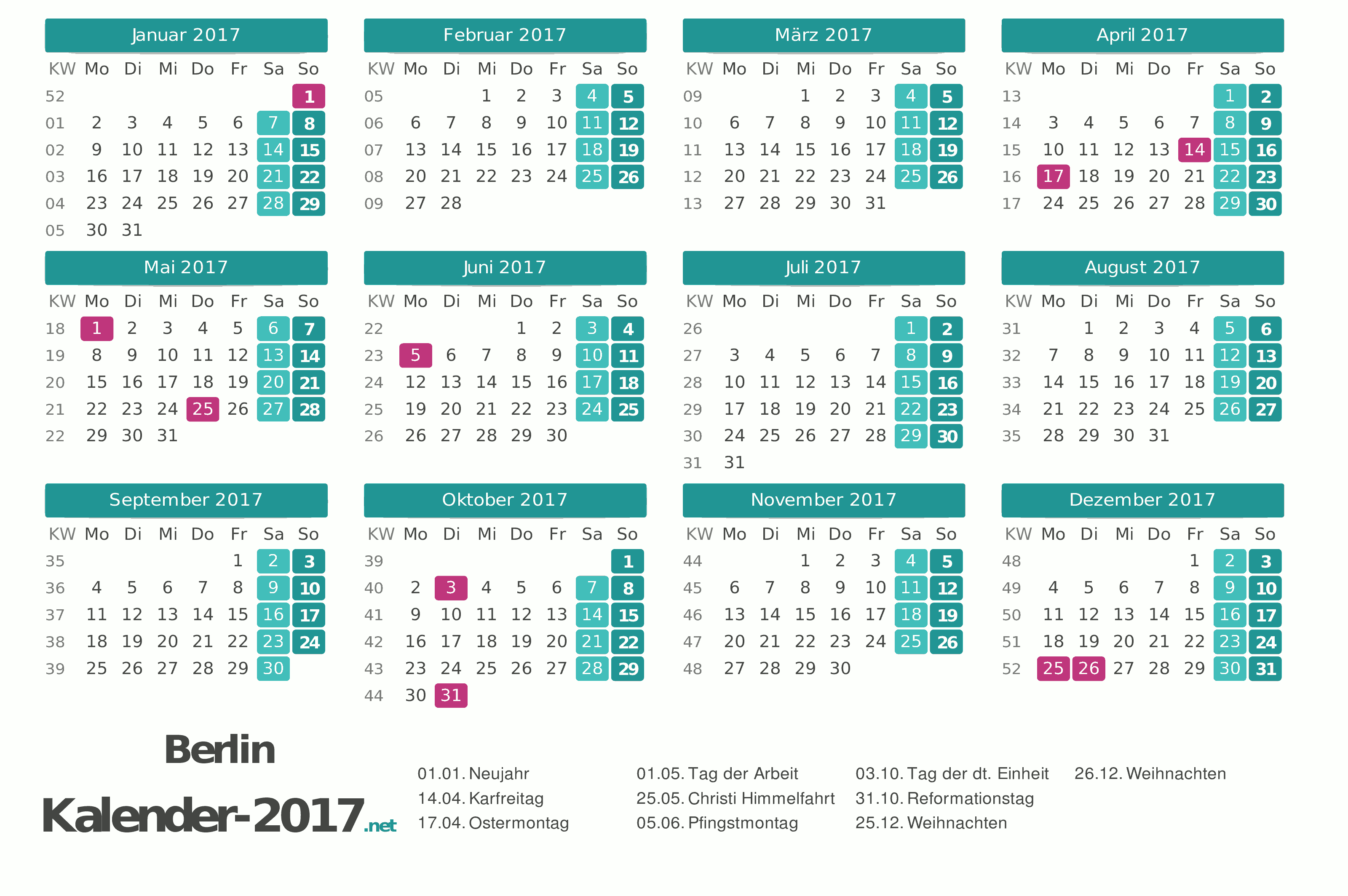 Berlin Kalender 2017 +