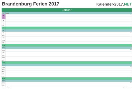 Monatskalender mit Ferien Brandenburg 2017 Vorschau