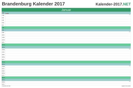 Vorschau Monatskalender 2017 für EXCEL Brandenburg