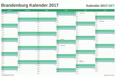 Vorschau Halbjahreskalender 2017 für EXCEL Brandenburg