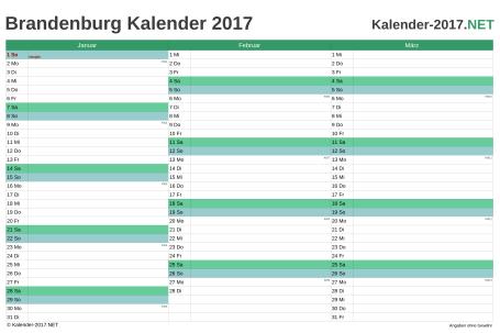 Vorschau Quartalskalender 2017 für EXCEL Brandenburg