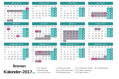 Kalender mit Ferien Bremen 2017 Vorschau