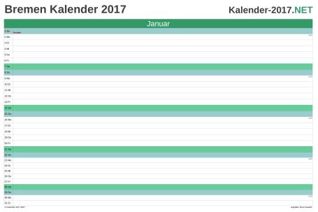 Vorschau Monatskalender 2017 für EXCEL Bremen