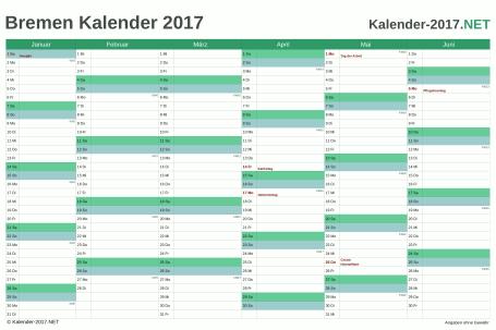 Vorschau Halbjahreskalender 2017 für EXCEL Bremen