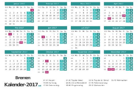 Feiertage Bremen 2017 zum Ausdrucken Vorschau