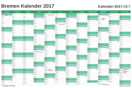 Vorschau Kalender 2017 für EXCEL mit Feiertagen Bremen