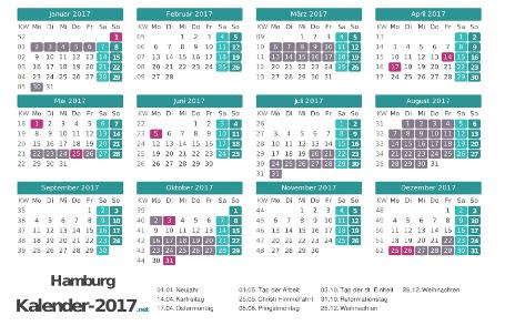 Ferien 2017 + Feiertage zum Ausdrucken - Hamburg Vorschau