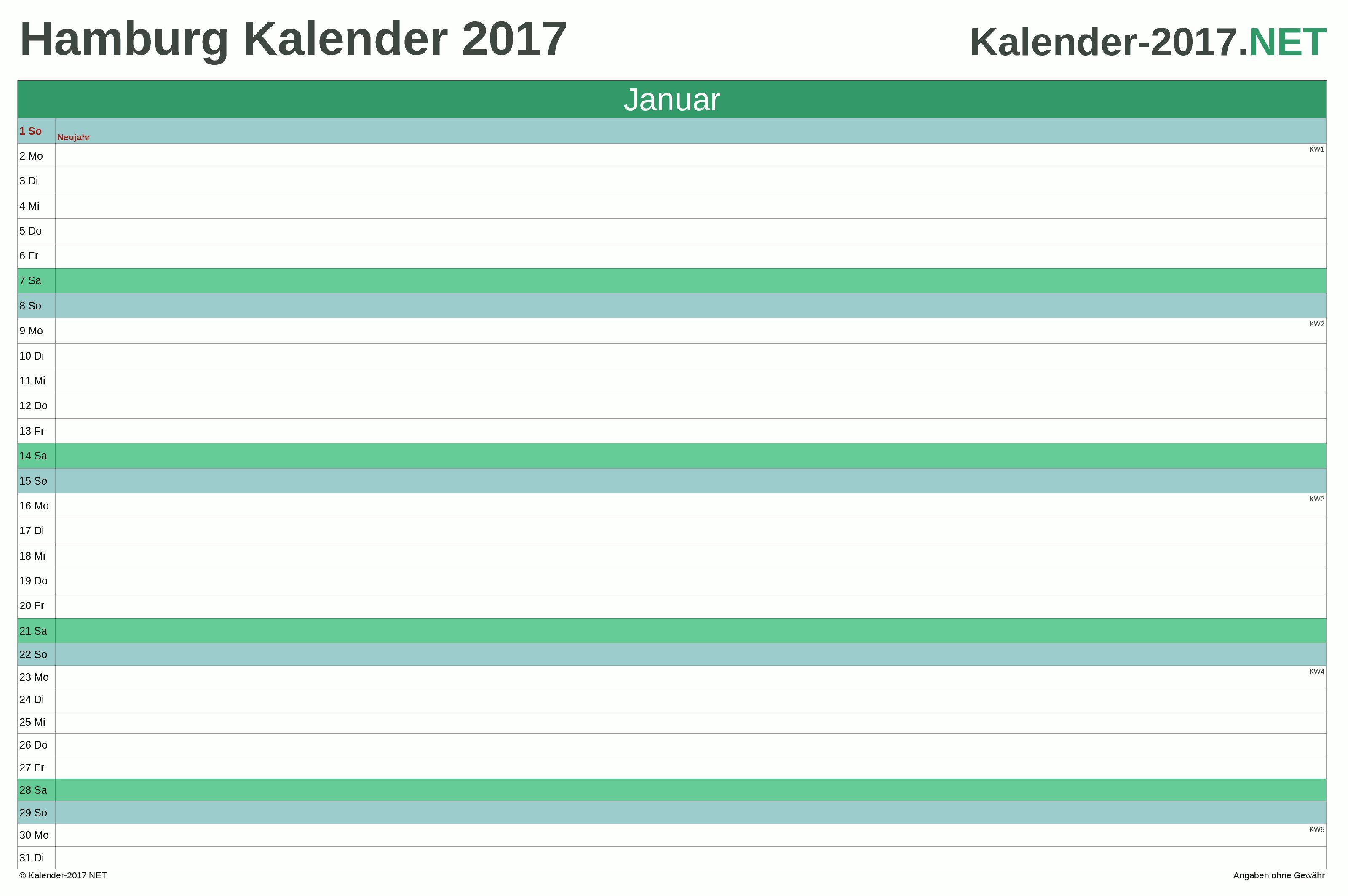 Kalender 2017 Hamburg
