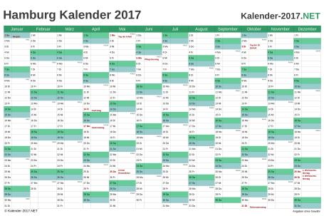Vorschau Kalender 2017 für EXCEL mit Feiertagen Hamburg
