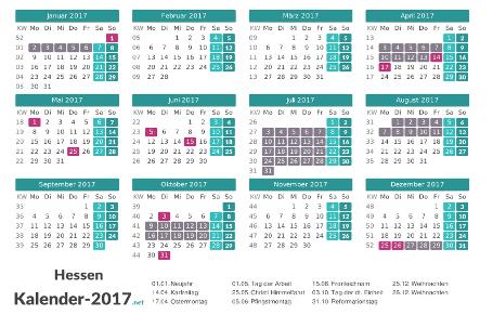 Ferien 2017 + Feiertage zum Ausdrucken - Hessen Vorschau