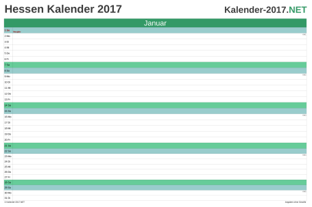 Hessen Monatskalender 2017 Vorschau