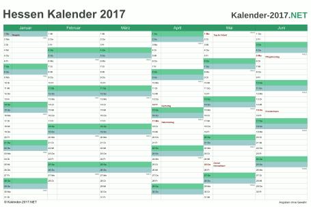 Hessen Halbjahreskalender 2017 Vorschau