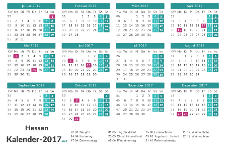 Hessen Kalender 2017 + Feiertage Vorschau