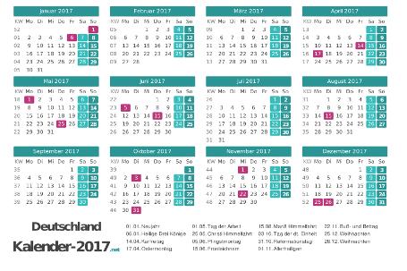 Kalender 2017 mit Feiertagen Vorschau