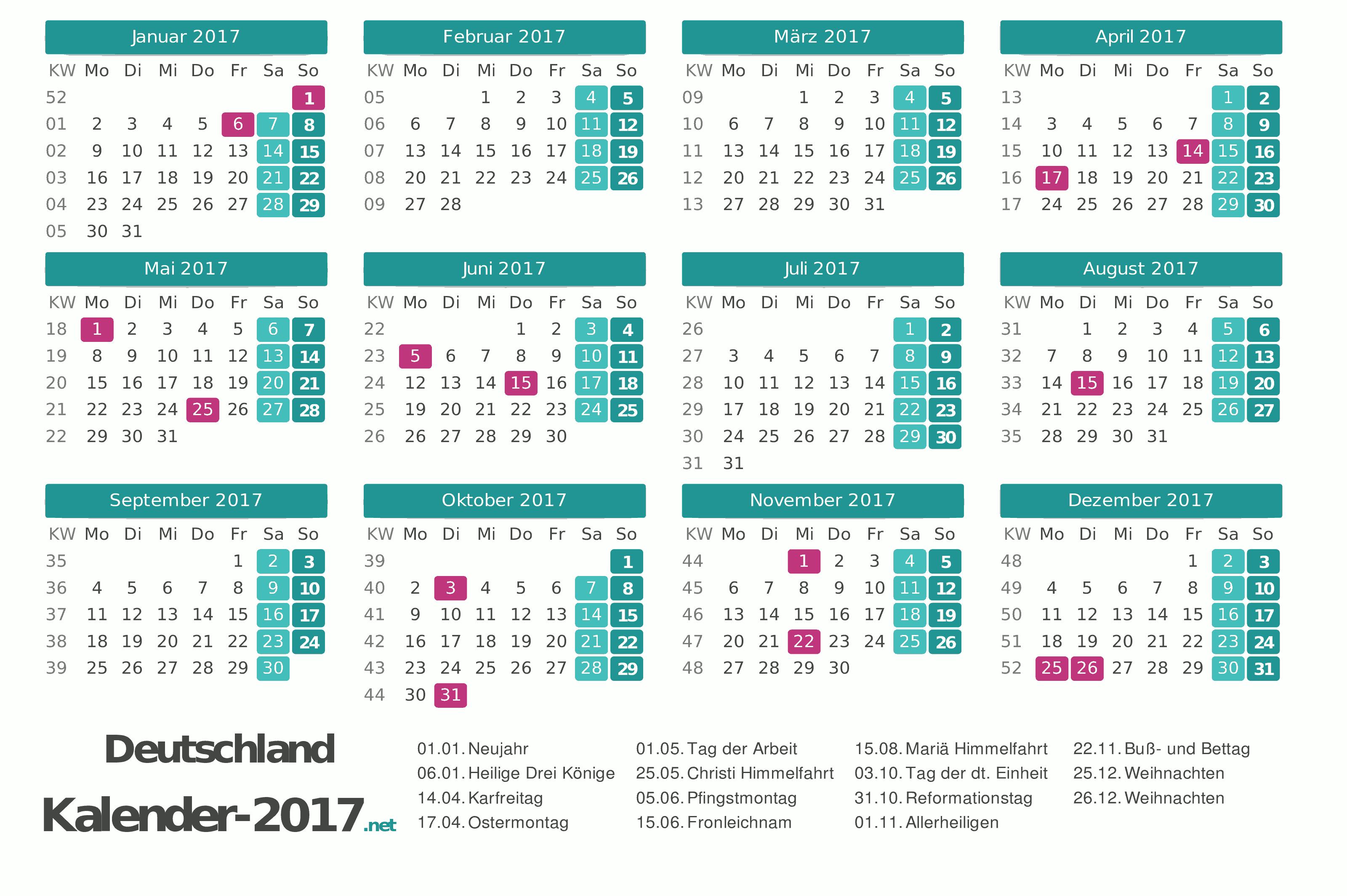 Kalender 2017 Jaarkalender