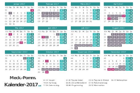 Kalender mit Ferien Meck-Pomm 2017 Vorschau