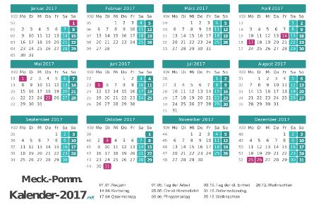 Meck-Pomm Kalender 2017 + Feiertage Vorschau