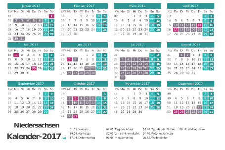 Kalender mit Ferien Niedersachsen 2017 Vorschau