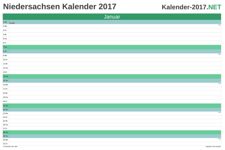 Vorschau Monatskalender 2017 für EXCEL Niedersachsen