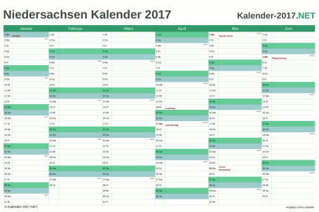 Vorschau Halbjahreskalender 2017 für EXCEL Niedersachsen