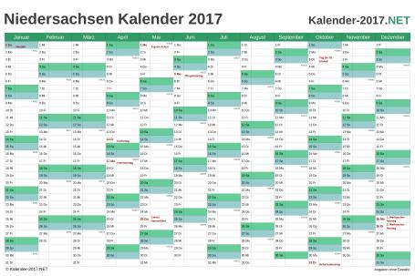 Vorschau Kalender 2017 für EXCEL mit Feiertagen Niedersachsen