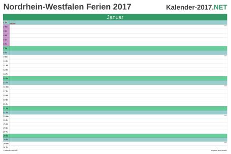 Vorschau EXCEL-Monatskalender 2017 mit den Ferien Nordrhein-Westfalen