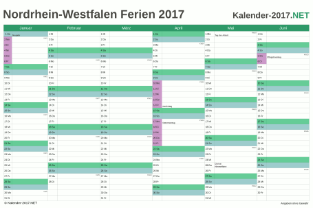 Halbjahreskalender 2017 zum Ausdrucken zum Ausdrucken - mit FerienNordrhein-Westfalen Vorschau
