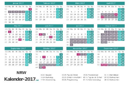 Kalender mit Ferien Nordrhein-Westfalen 2017 Vorschau