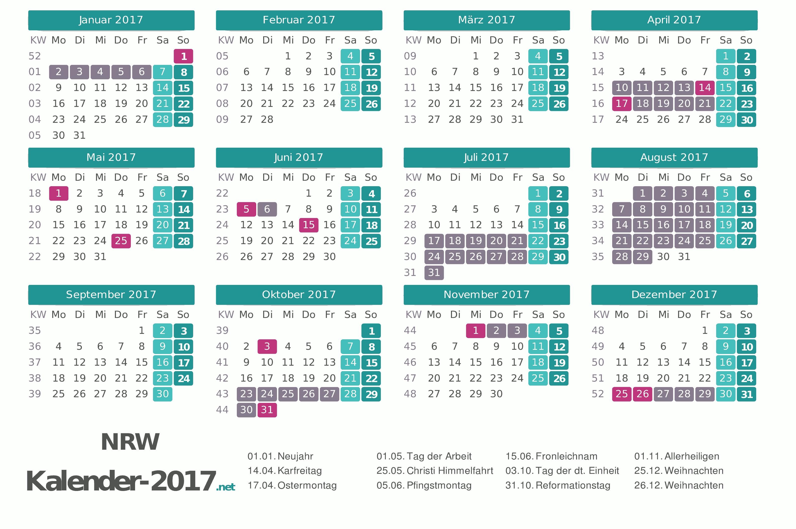 Kalender 2020 nordrhein-westfalen