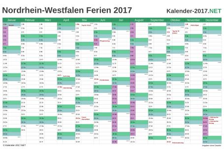 Vorschau EXCEL-Kalender 2017 mit den Ferien Nordrhein-Westfalen