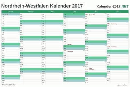 Nordrhein-Westfalen Halbjahreskalender 2017 Vorschau