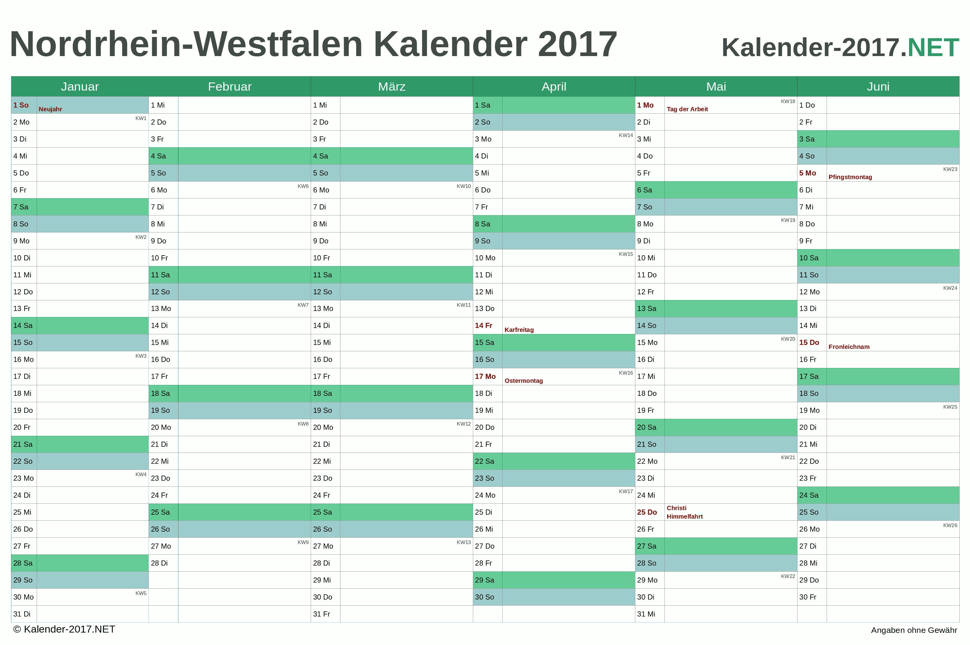 Kalender 2017 Nordrhein Westfalen