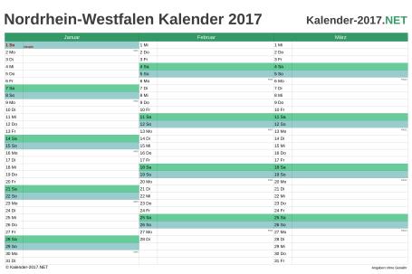 Nordrhein-Westfalen Quartalskalender 2017 Vorschau