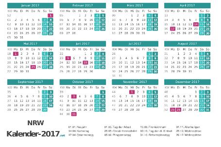 Nordrhein-Westfalen Kalender 2017 + Feiertage Vorschau