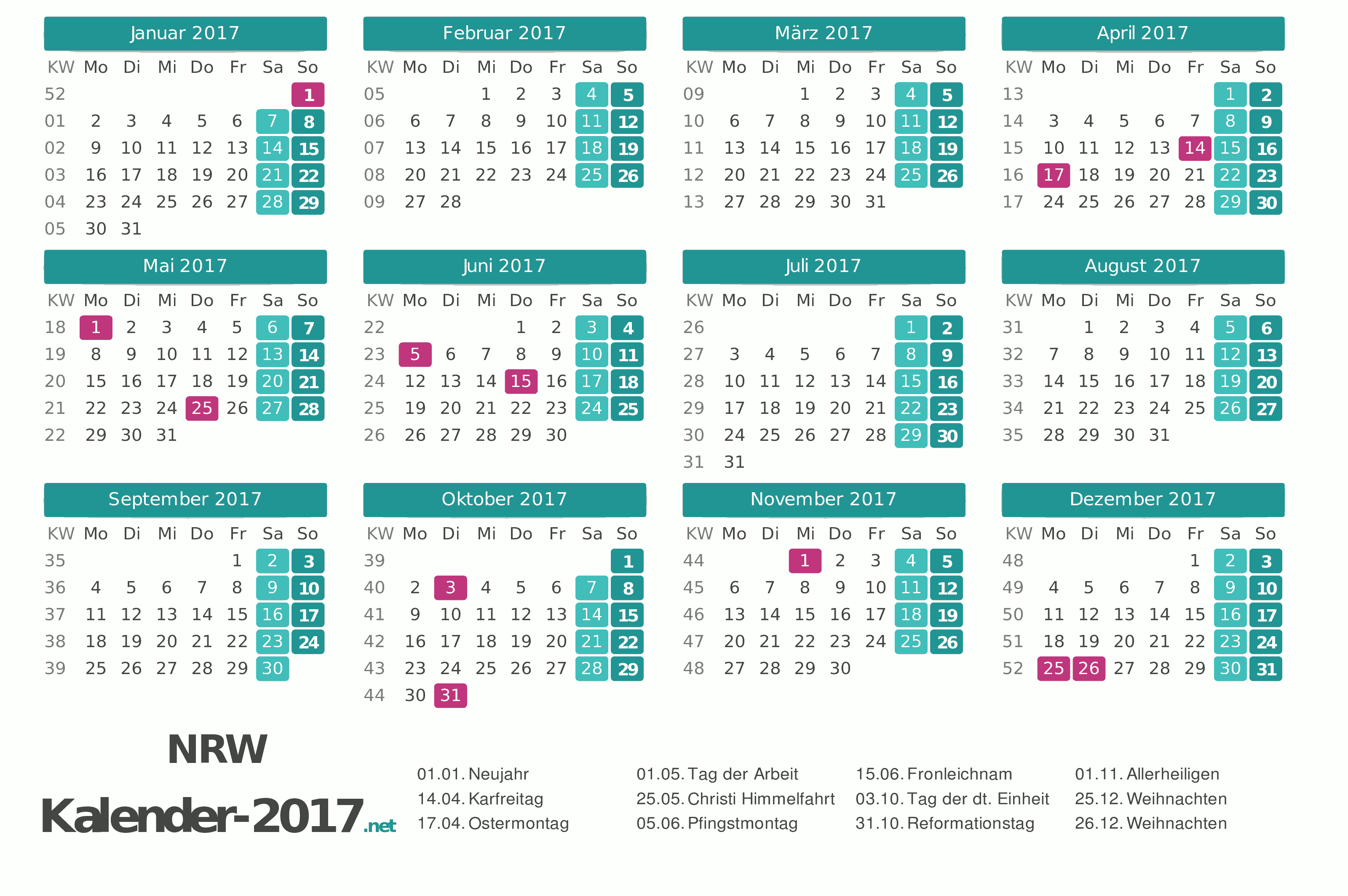 Kalender 2017 Nrw Related Keywords & Suggestions - Kalender 2017 Nrw ...