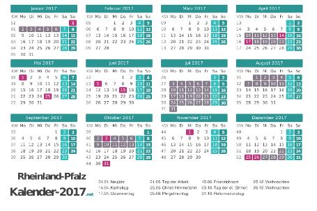 Kalender mit Ferien Rheinland-Pfalz 2017 Vorschau