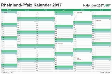 Vorschau Halbjahreskalender 2017 für EXCEL Rheinland-Pfalz