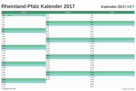 Vorschau Quartalskalender 2017 für EXCEL Rheinland-Pfalz